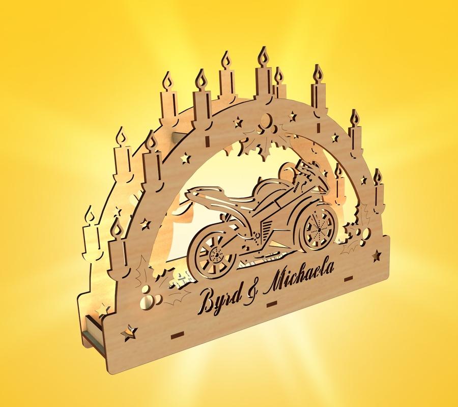 individueller Schwibbogen Motiv Motorrad aus Nünchritz